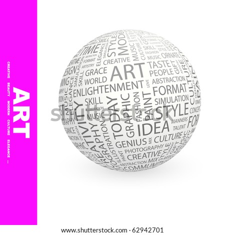 ART. Globe with different association terms. - stock vector