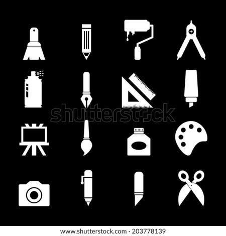 Art icon - white - stock vector