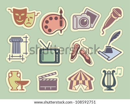 Art icons on stickers - stock vector