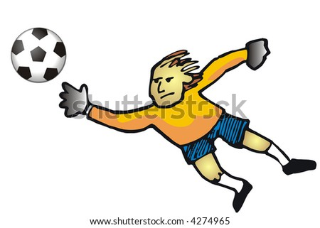 art illustration: a goalkeeper moving to defend his arch