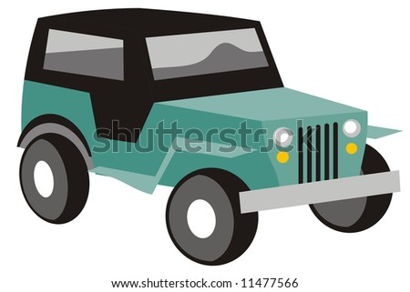 art illustration in black and white: a stylized jeep - stock vector