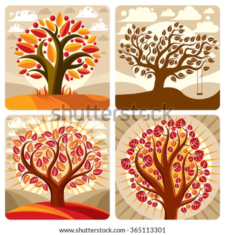Art illustration of orange trees growing on beautiful meadow, stylized eco autumn landscape with clouds. Vector botany element on harvest season idea, spring time idyllic picture.