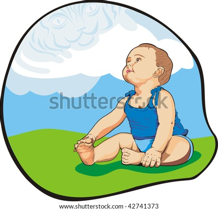 art illustration of small baby looking up the clouds as a big blue tiger - stock vector