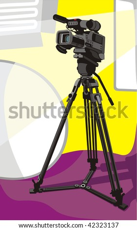 art illustration of tv camcorder on tripod in studio - stock vector