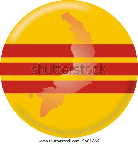 art illustration: round medal with map and flag of south vietnam
