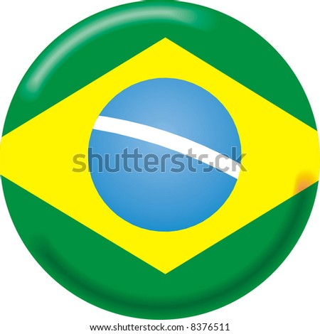 art illustration: round medal with the flag of brazil - stock vector