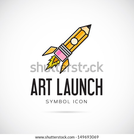 Art launch pencil rocket vector symbol icon or Logo Template - stock vector