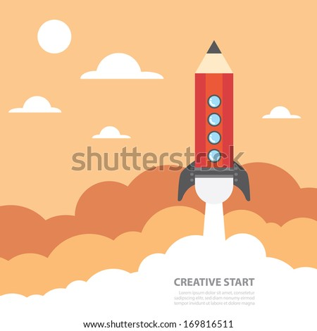 Art launch pencil rocket with sky space, Creative start, Vector illustration. - stock vector