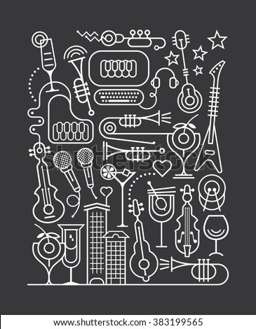 Art line on a dark grey background Cocktail Party vector illustration. - stock vector
