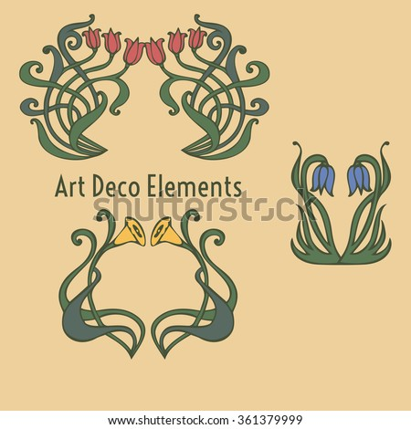 vintage flower rustic design elements doodle stock vector. Black Bedroom Furniture Sets. Home Design Ideas