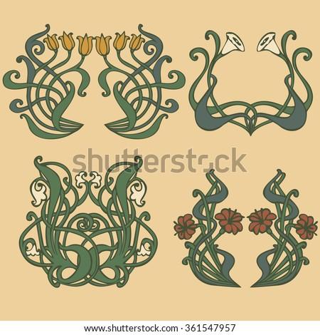 art nouveau art deco floral ornaments stock vector 361547957 shutterstock. Black Bedroom Furniture Sets. Home Design Ideas