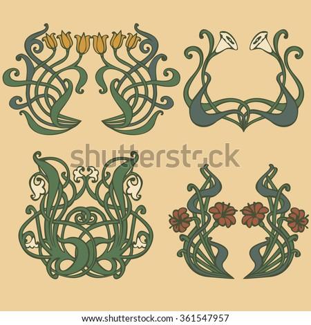 Deco Jugendstil nouveau deco floral ornaments stock vector 361547957