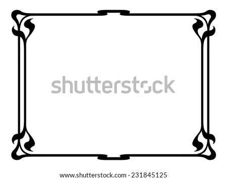 art nouveau black ornamental decorative frame - stock vector