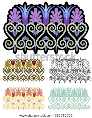 Art nouveau border element, with variations - stock vector