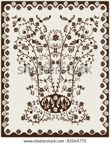 Art Nouveau decorative background with floral motives and stylized birds. - stock vector