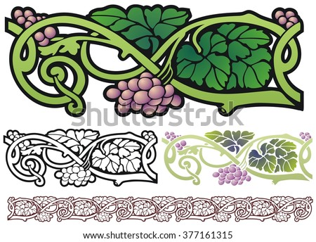 Art Nouveau Design Element, grapes with leaves and vines - stock vector