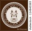 art nouveau design for decorative plate - stock vector