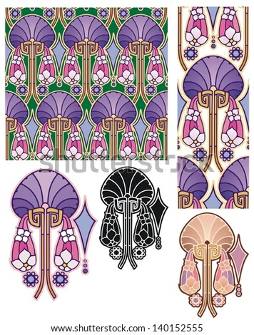 Art nouveau fantasy flower wallpaper with variations - stock vector