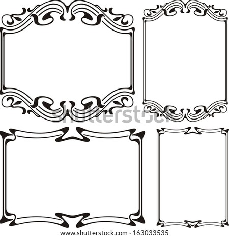 art nouveau frame - black and white - stock vector