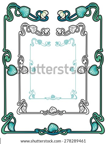 art nouveau style border of water nymph lilies with vines and leaves - stock vector