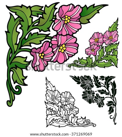 Art nouveau style corner ornaments of petunias, with variations  - stock vector