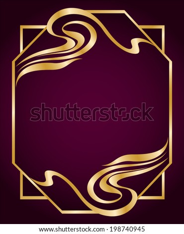 Art Nouveau style frame. Luxurious border in gold colors. Element for your design. Abstract flourish frame. Copy space. Vector file is grouped EPS8. - stock vector