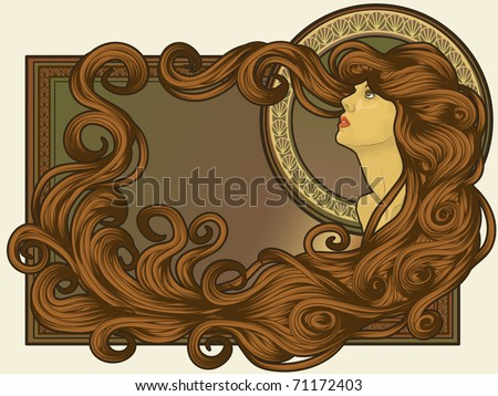 Art Nouveau styled woman's face with long detailed flowing hair - stock vector