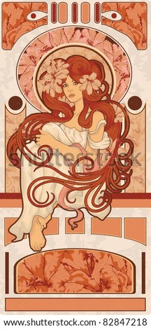 Art Nouveau styled woman with long detailed flowing hair art design - stock vector