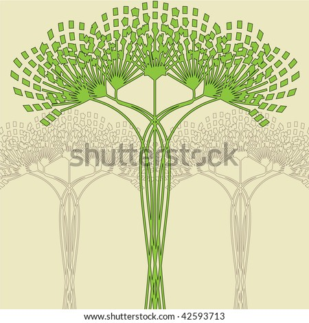 art nouveau tree vector background - stock vector