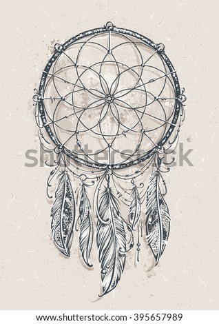 Art of traditional indian dream catcher. Grunge vector illustration. - stock vector