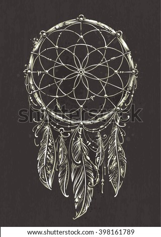 Art of traditional indian dream catcher. Grunge vector illustration. Variation on dark background. - stock vector