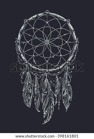 Art of traditional indian dream catcher. Monochrome variation. Grunge vector illustration. - stock vector