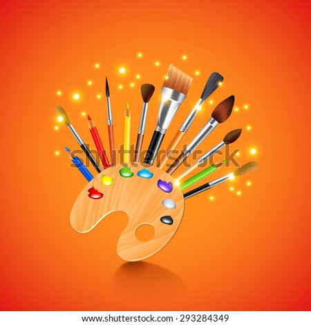 Art palette and brushes on orange background photo realistic vector - stock vector
