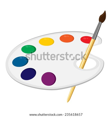 Art Palette Paint Supplies Color Vector