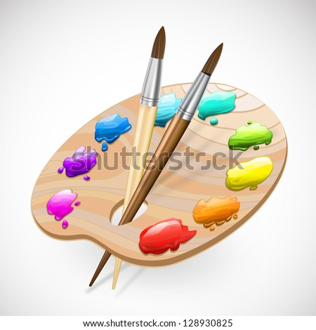 art palette with brushes and paints - stock vector