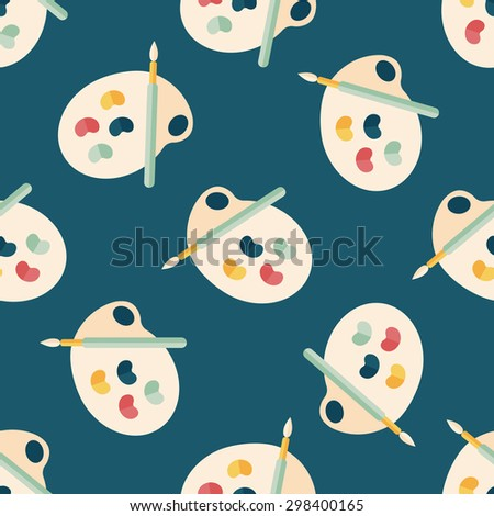 Art palette with paint brush flat icon,eps 10 seamless pattern background - stock vector