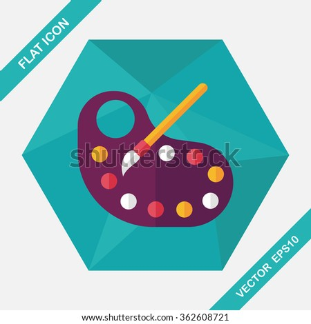 Art palette with paint brush flat icon with long shadow,eps 10 - stock vector
