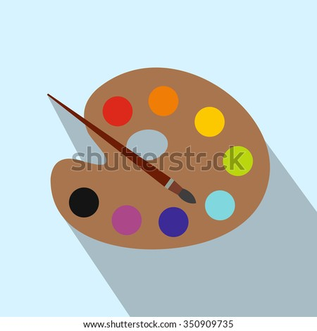 Art palette with paint brush flat icon with long shadow. Single modern illustration on a light background  - stock vector