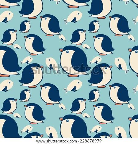 art penguin pattern  - stock vector