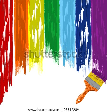 Art rainbow abstract vector background with brush 3 - stock vector