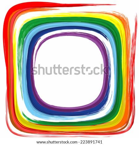Art rainbow color frame abstract splash paint background  - stock vector