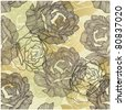 art roses seamless ornament grunge background - stock vector