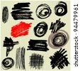 art set grunge vector brush strokes - stock vector