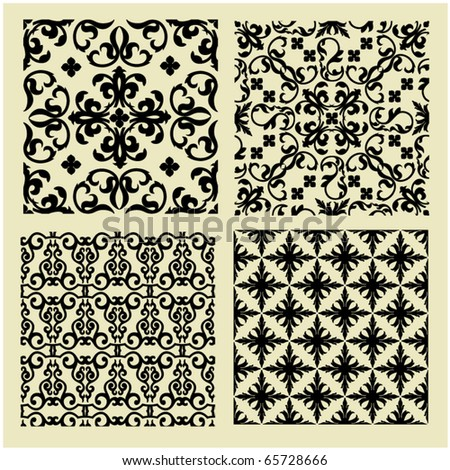 art set 1 of damask patterns - stock vector