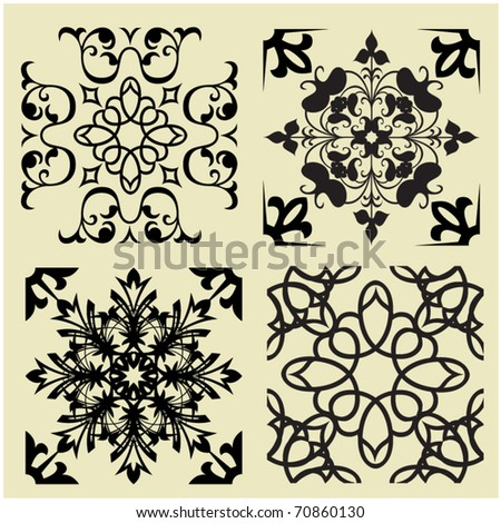 art set 2 of damask patterns - stock vector