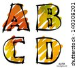 art set of stylized sketch alphabet in vector; red, yellow, green and orange font - stock vector