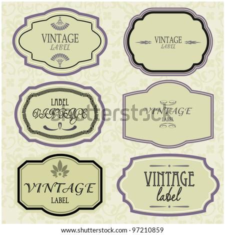 art set of vector vintage frame label - stock vector