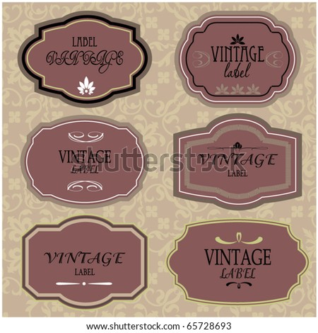 art set of vector vintage frame lable - stock vector