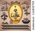 art set of vintage retro coffee labels - stock vector