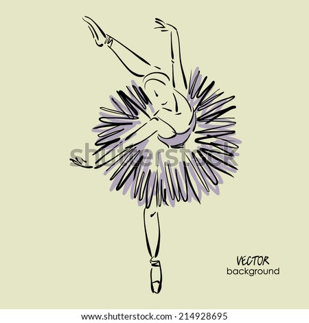 art sketch of beautiful young ballerina with tutu in ballet dance pose - stock vector